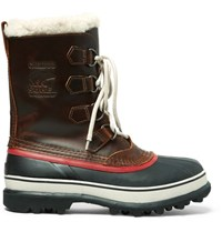 Sorel 1964 Faux Shearling Trimmed Waterproof Leather And Rubber Boots Burgundy