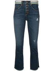Veronica Beard Cropped Bootcut Jeans Blue