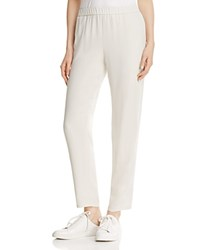 Eileen Fisher System Slouchy Silk Ankle Pants Bone
