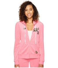 Juicy Couture Venice Beach Patches Microterry Puff Sleeve Jacket Precocious Pink Women's Coat
