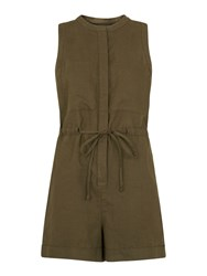 Whistles Linen Playsuit Khaki