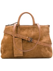 Marsell Tag Detail Tote Women Suede One Size Brown