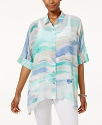 Jm Collection Petite Printed Dolman Sleeve Blouse Only At Macy's Quiet Harbor Sunrise