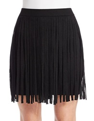 Chelsea And Theodore Black Knit Fringe Skirt