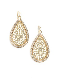 Ak Anne Klein Social Glitz Lasercut Teardrop Earrings Goldtone