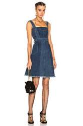 Alexander Mcqueen Patchwork Denim Sleeveless Dress In Blue