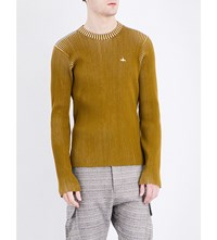 Vivienne Westwood Crewneck Ribbed Knitted Jumper Oil Off Wht