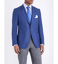 Tom Ford Slim Fit Wool And Silk Blend Jacket Open Blue
