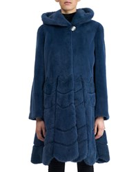Gorski Sheared Mink Hooded Reversible Coat Navy