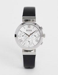 Boss Classic Sports Leather Watch In Black