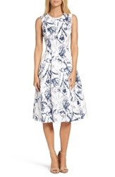 Eliza J Women's Fit And Flare Dress Ivory Navy