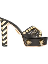 Fausto Puglisi Studded Pump Sandals With Zig Zag Heel Detail Black