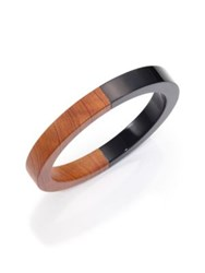 Michael Kors Two Tone Wood Grain Print Resin Bangle Bracelet Wood Black