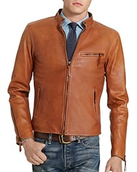 Polo Ralph Lauren Lambskin Leather Cafe Racer Jacket Old Amber
