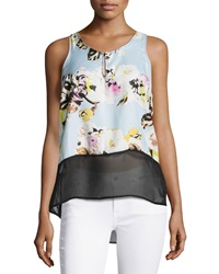 Dex Floral Panel Sheer Sleeveless Blouse Pastel Bouquet