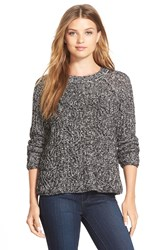 Vince Camuto Cable Stitch Marled Yarn Pullover Rich Black
