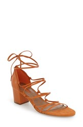 Women's Topshop Strappy Block Heel Sandal Orange Leather