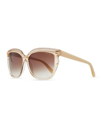 Jimmy Choo Sophia Embellished Sunglasses Nude