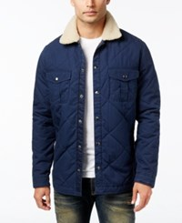 Lucky Brand Men's Quilted Jacket With Faux Sherpa Lining Black Iris