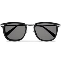 Brioni D Frame Acetate And Silver Tone Sunglasses Black