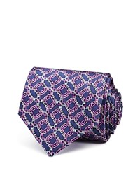 Bloomingdale's The Men's Store At Octagonal Diamond Large Medallion Classic Tie Navy Purple