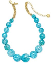 Kate Spade New York Gold Tone Large Blue Bauble Collar Necklace Turquoise