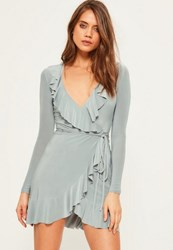Missguided Grey Slinky Frill Wrap Bodycon Dress