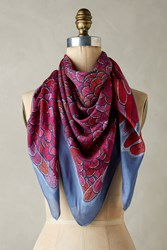 Anthropologie Pero Silk Square Scarf Pink