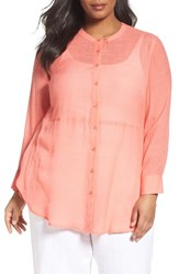 Sejour Plus Size Women's Tab Collar Sheer Tunic
