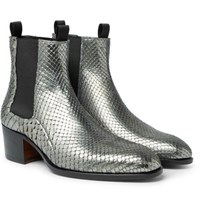 Tom Ford Python Chelsea Boots Silver