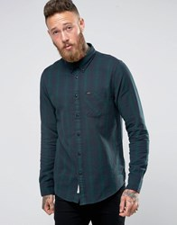 Lee Buttondown Brushed Check Shirt Green Dk Bottle Green