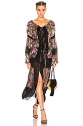 Roberto Cavalli Contrast Panel Printed Dress In Black Purple Floral Metallics Black Purple Floral Metallics