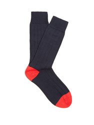 Pantherella Scott Nichol Oxford Ribbed Knit Socks Navy