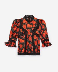 The Kooples Loose Fitting Printed Top Roses Lace Strips