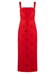 Valentino Daisy Applique Sleeveless Crepe Midi Dress Red