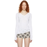Marc Jacobs White Redux Grunge Open V Neck Sweater