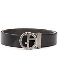 Giorgio Armani Logo Plaque Belt Black