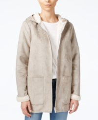 Sanctuary Hooded Faux Shearling Coat Sterling Silver