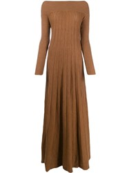 L'autre Chose Pleated Knit Dress Brown