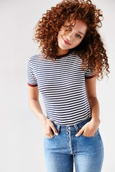 Truly Madly Deeply Jewel Ringer Tee Blue