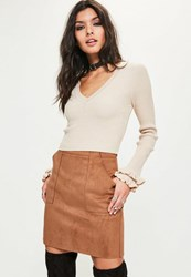 Missguided Tan Bonded Faux Suede Patch Pocket Mini Skirt Rust