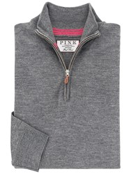 Thomas Pink Geoffrey Merino Zip Neck Jumper Charcoal