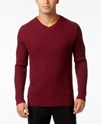 Vince Camuto Men's Mixed Pattern V Neck Sweater Port