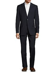 Tommy Hilfiger Modern Fit Textured Wool Blend Suit Navy