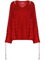 Mcq By Alexander Mcqueen Oversized V Neck Jumper Red