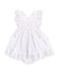 Ralph Lauren Childrenswear Lace Trim Dobby Pinafore Dress And Bloomers White Size