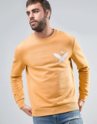 Dead Vintage Rust Crew Neck Sweater With Chest Logo Tan