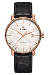 Rado Men's Coupole Classic Automatic Embossed Leather Strap Watch 41Mm Brown White Rose Gold