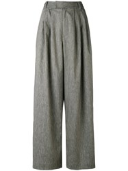 Pas De Calais Pleated Detail Palazzo Trousers Women Cotton Linen Flax Polyester Polyurethane 40 Grey