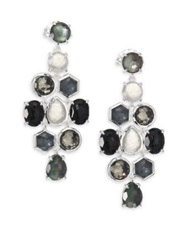 Ippolita Rock Candy Black Tie Semi Precious Multi Stone And Sterling Silver Cascade Chandelier Earrings Silver Black